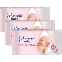 Johnson`S Baby Parfümsüz Islak Mendil 3 Lü Eko Paket 56 Adet