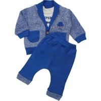 Modakids Erkek Bebek Bıyık Nakışlı Hırkalı 3'lü Takım 035-224159-015