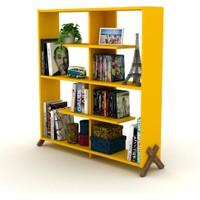 Rafevi Kipp Kitaplık Ceviz-Sarı