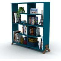 Rafevi Kipp Kitaplık Ceviz-Mavi