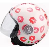 Spyder Motosiklet Kaskı Yarım Camlı 701 Bayan Beyaz Öpücük Desenli Small