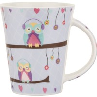 Tantitoni Porselen Mor Owl In Love Kupa