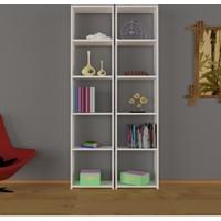 Nur Mobilya Poyraz 2'li Kitaplık- Beyaz