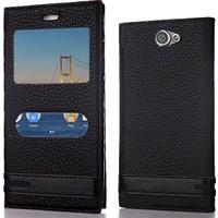 CoverZone General Mobile GM6 Kılıf Pencereli Elite Deri + Kırılmaz Cam
