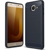 Teleplus Samsung Galaxy J7 Max Özel Karbon ve Silikonlu Kılıf + Kırılmaz Cam