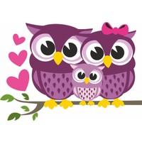 DekorLoft Baykuş Ailesi Çocuk Odası Sticker CS-564