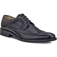 Cabani Oxford Bağcıklı Kösele Enjeksiyonlu Klasik Erkek Ayakkabı Siyah Antik Deri