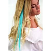 Modamarka-Shop Saç Aksesuarı Renkli Çıtçıtlı Postiş Kaynak Saç Mint Yeşil