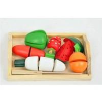 Wooden Toys Ahşap Tepside Meyve Sebze Kesme Oyunu Eğitici Ahşap Oyuncak