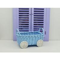 Cosıness Hasır Dekoratif Bebek Arabalı Sepet - Bebe Mavi