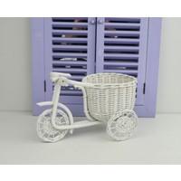 Cosıness Hasır Dekoratif Bisikletli Sepet - Beyaz