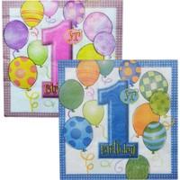 Kağıt Peçete 1 Yaş Birthday Balonlu (20 Adet)