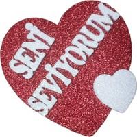 Strafor Kapı Süsü Kalp Seni Seviyorum Küçük Boy