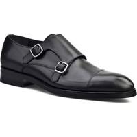 Cabani Çift Tokalı Klasik Erkek Ayakkabı Siyah Antik Deri