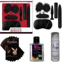 Romance Çiftlere Özel Fantezi Seti - Siyah + 20 Paket Lubricant Kaydırıcı Jel + Nice Cream Anal Rahatlatıcı Krem + Vga Cinsel Geciktirici Sprey