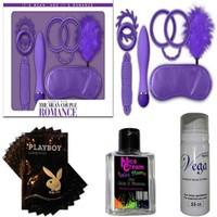 Romance Çiftlere Özel Fantezi Seti - Mor + 20 Paket Lubricant Kaydırıcı Jel + Nice Cream Anal Rahatlatıcı Krem + Vga Cinsel Geciktirici Sprey
