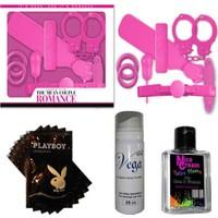 Romance Çiftlere Özel Fantezi Seti - Pembe + 20 Paket Lubricant Kaydırıcı Jel + Nice Cream Anal Rahatlatıcı Krem + Vga Cinsel Geciktirici Sprey