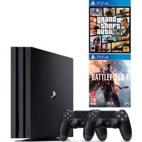 Sony Playstation 4 Pro 1 Tb ( Ps4 Pro ) 4K Oyun Konsolu + 2. Ps4 Kol + Ps4 Gta 5 + Ps4 Battlefield 1