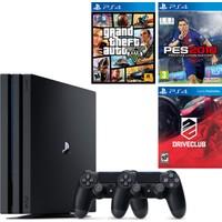 Sony Playstation 4 Pro 1 Tb ( Ps4 Pro ) + 2. Ps4 Kol + Ps4 Pes 2018 + Ps4 Gta 5 + Ps4 Driveclub