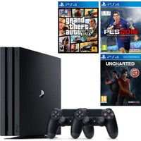 Sony Playstation 4 Pro 1 Tb ( Ps4 Pro ) + 2. Ps4 Kol + Ps4 Gta 5 + Ps4 Pes 2018 + Ps4 Uncharted Kayıp Miras