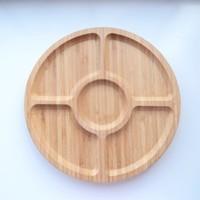 Dk 30 Cm Bambu 5 Bölmeli Dönerli Yuvarlak Çerezlik Kahvaltılık 3030-1