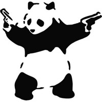 Solfera Çift Tabancalı Gangster Panda Otomobil Stickerı Cs043
