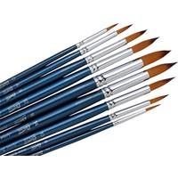 10 Adet Sivri Uç Fırça Seti - Uzun Sap