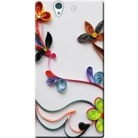 Kılıf Merkezi Sony Xperia Z C6603 Çiçek Desen Baskılı Silikon Kılıf
