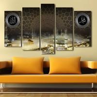 Yedirenkdekor Kabe Dini Dekoratif 5 Parça Kanvas Tablo
