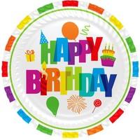 Partioutlet Gökkuşağı Happy Birthday Tabak 8 Li