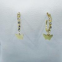 Fonnava Kelebek Figürlü Gold Renkli Taşlı Şık Bayan Küpe Tb0296