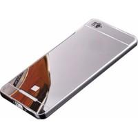 Case 4U Xiaomi Redmi 4A Aynalı Metal Kapak Kılıf Gümüş + Temperli Cam Ekran Koruyucu