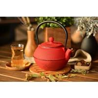 Taşev Linden - Menekşe 1200 ml Kırmızı Döküm Çaydanlık T2767