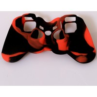 Playaks Sony Playstation 3, Dualshock 3 Silikon Kol Kılıf Ps3 Kol Kılıfı Kamuflaj Kırmızı Siyah
