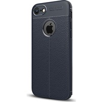 Gpack Apple iPhone 7 Kılıf Niss Tarz Deri Görünüm Silikon + Cam