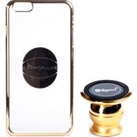 Ligovi Apple iPhone 6/6S Plus Uyumlu Car Popular Araç İçi Tutuculu Mıknatıslı Şeffaf Kılıf