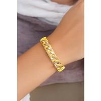 Clariss Metalik Sarı Renk Deri Zincir Aksesuar Detaylı Bayan Bileklik 522874