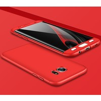 Case 4U Samsung Galaxy S7 Edge 360 Derece Korumalı Tam Kapatan Kılıf Kırmızı