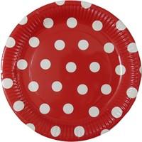 Elitetime Tabak Karton Kırmızı Puantiyeli 23Cm P8-24 - Ar6247