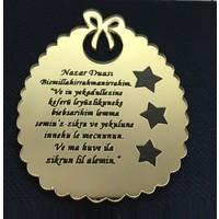 Elitetime Ayet Nazar Duası Fiyonklu Pleksi 2 Mm Altın