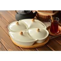 Bambum Mikado Bambu Tepsili 9 Parça Porselen Kahvaltı Takımı B2818