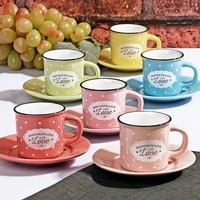 Çeyiz Diyarı Emaye Görünümlü Puantiyeli Stonware Kahve Fincan Takımı Love