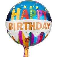 PartiBulutu Happy Birthday Mavi Rengarenk Folyo Balon
