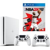 Sony Playstation 4 Slim 500 Gb Beyaz Oyun Konsolu + 2. Ps4 Kol + Nba 2K18