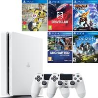 Sony Ps4 Slim 500Gb Beyaz Oyun Konsolu + 2. Kol + Fifa 17 + Driveclub + Ratchet And Clank + Uncharted Collection + Horizon Zero Dawn