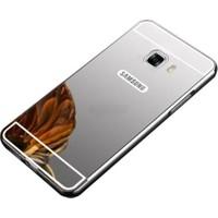 Case 4U Samsung Galaxy C9 Pro Aynalı Metal Kapak Kılıf + Tam Kapatan Cam Gümüş Gri