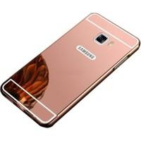 Case 4U Samsung Galaxy C9 Pro Aynalı Metal Kapak Kılıf + Tam Kapatan Cam Rose Gold