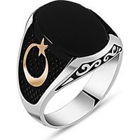 Reyyan 925 Ayar Gümüş Ay Yıldız - Onix Taşlı Yüzük