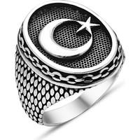 Reyyan 925 Ayar Gümüş Ay Yıldız Zincir İşlemeli Yüzük