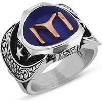 Reyyan 925 Ayar Gümüş Kayı Boyu Sancaklı Mavi Mineli Yüzük